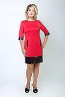 Стильное женское платье со вставками экокожи, фото 1