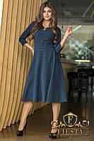 Темно-синее повседневное женское платье рукав 3/4 с слегка расклешенной юбкой и бантом сзади. Арт-6308/15