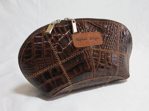 Косметичка женская кожаная лак коричневая рептилия, арт: 60661 Размеры: 25/14/8 см.