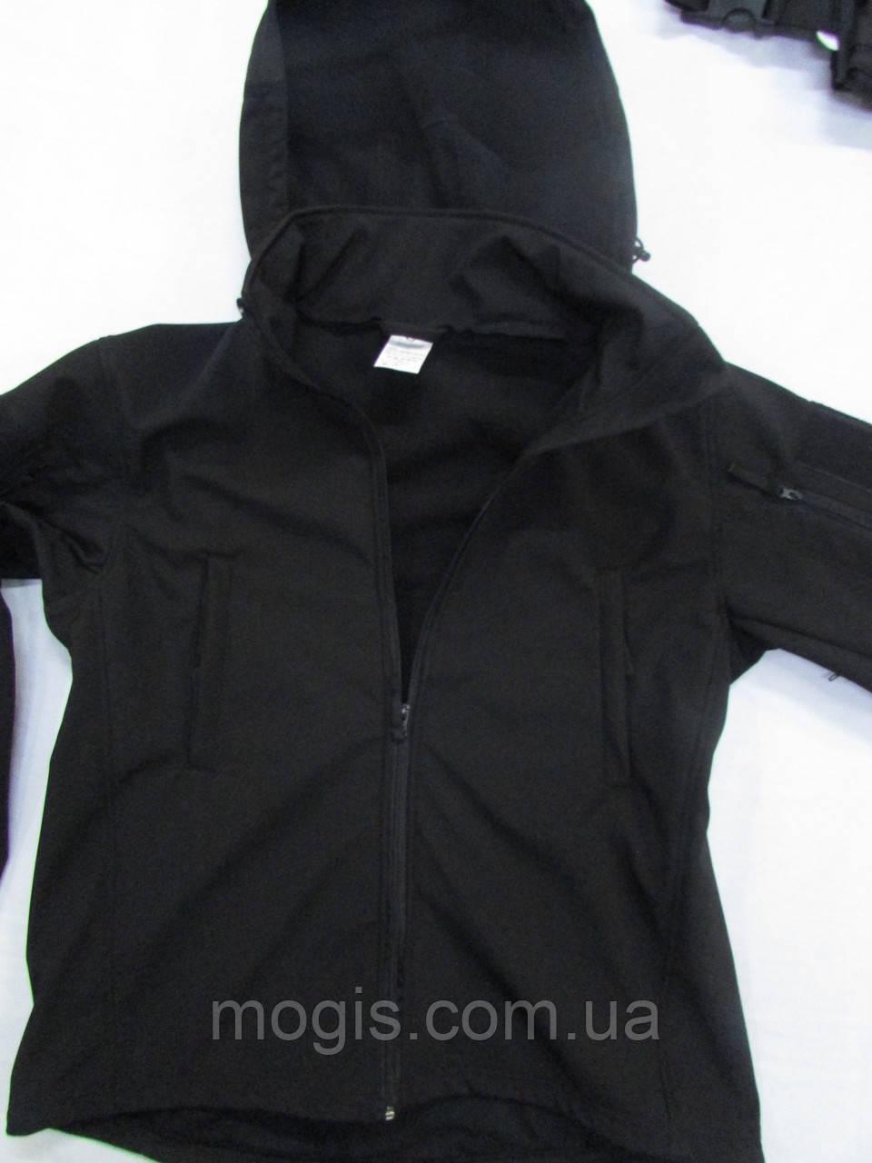 Куртка ветровка milt-12 тк. совтшел черный со сьемным капюшоном козырьком