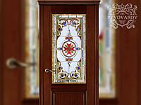 Витражные двери из кусочков цветного стекла и фасетов в технике Тиффани