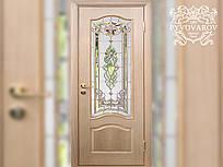 Витражные двери с матовым стеклом и фацетами