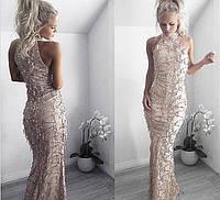 Безумно красивое, женское, силуэтное платье-макси с американской проймой, декорировано пайетками.