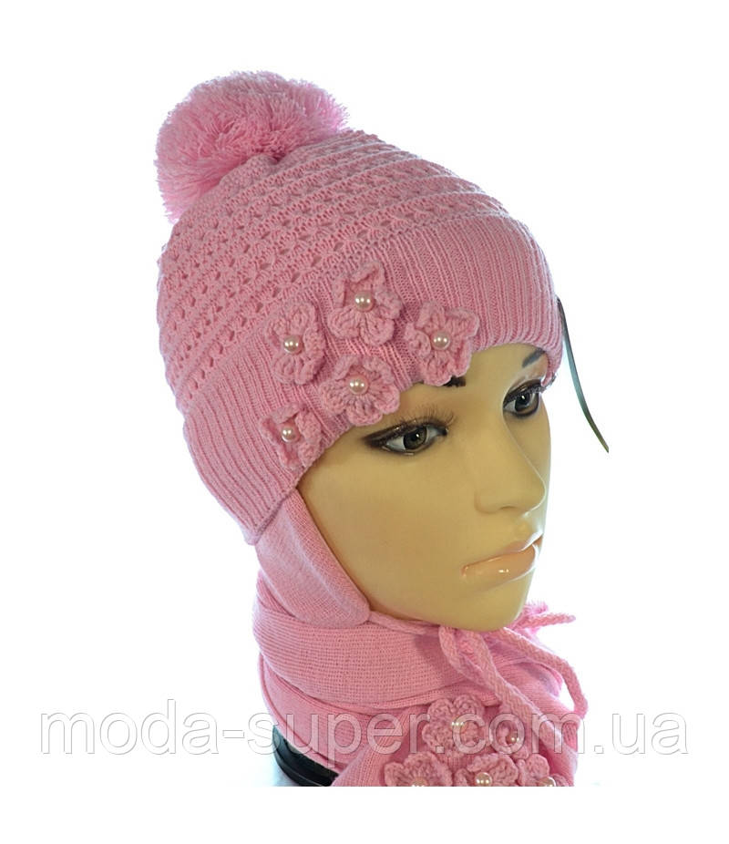 Комплект-вязаная шапочка с утеплителем и шарф
