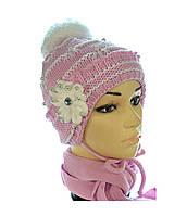 Зимний детский комплект -вязаная шапочка  и шарф