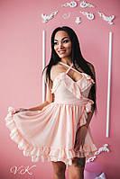 Платье красивое короткое с пышной юбкой двойной шифон разные цвета SMk2223