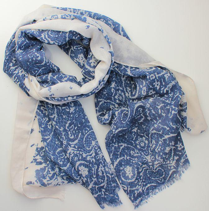Женский шарф из вискозы 180 на 90 dress А0048_син