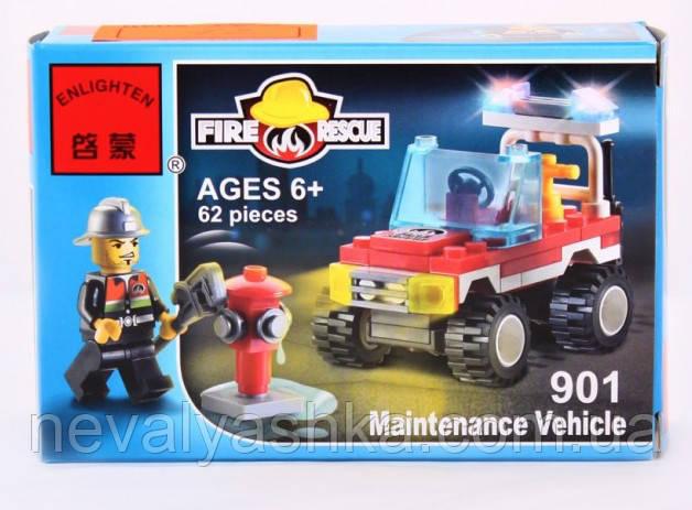 Конструктор Brick Enlighten Fire Rescue Пожарная машина, 62 дет., 901, 007415 002212