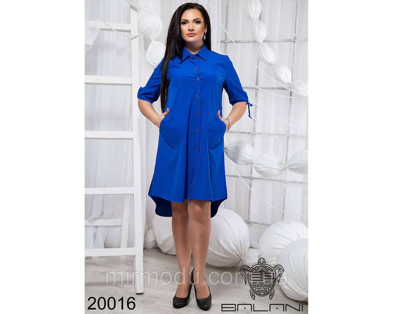 Стильное платье с открытыми плечами - 20016 с 48 по 56 размер бн