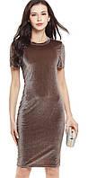 Платье хамелеон Liva Girl праздничное с бархатным покрытием коротким рукавом.  S(42), КОРИЧНЕВЫЙ