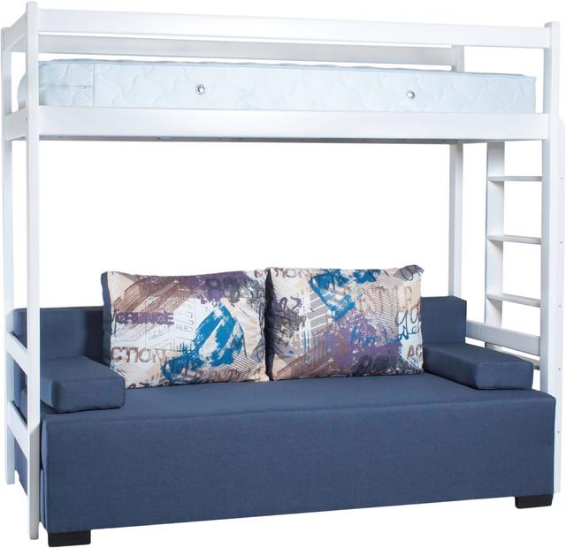 """На фото: кровать""""Чердак"""" (деревянная) с диваном и подушками"""