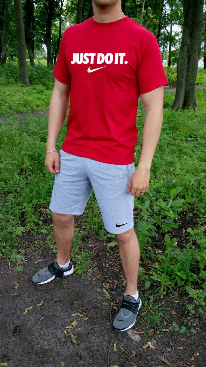 Мужской комплект футболка + шорты Nike красного и серого цвета (люкс копия)