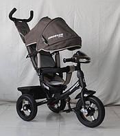 Велосипед детский трехколесный Azimut Crosser One T1 ФАРА (надувные колёса) коричневый