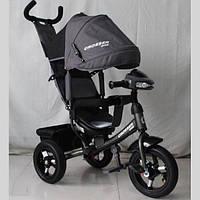 Велосипед детский трехколесный Azimut Crosser One T1 ФАРА (надувные колёса) серый