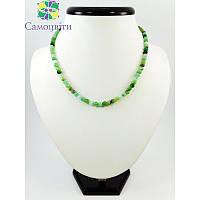 Ожерелье Хризопраз в породе + серебряная застежка грань 6 мм