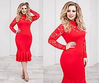 72cca6fed51a20e Потребительские товары: Женское платье Красное с гипюром оптом в ...