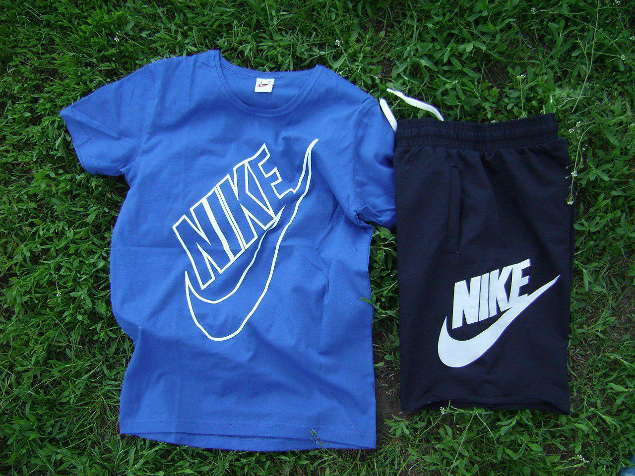 Мужской комплект футболка + шорты Nike синего и черного цвета (люкс копия)