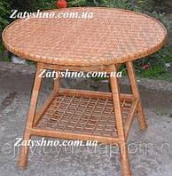 Столы из лозы круглый с полкой