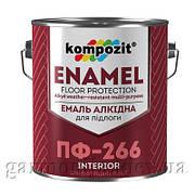 Эмаль для пола ПФ-266 Kompozit, 0.9 кг, Желто-коричневый, глянцевая