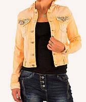 Джинсовая куртка с камнями оранжевая Mozzaar (Европа) Персиковый