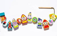 Шнуровка Гномы селяне деревянная игрушка 13 деталей Cubika