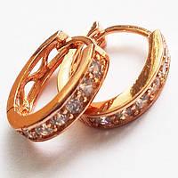 Позолоченные серьги овальные с фианитами (15х3 мм). Ювелирная бижутерия Xuping Jewelry. , фото 1