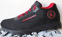 Jordan! летние черные мужские спортивные кроссовки сетка кожа, фото 1