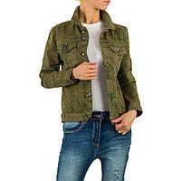 Джинсовая камуфляжная куртка с цветочным принтом Voyelles Collection (Италия) Хаки