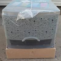 Комод ажурный люкс на 4 ящика серый