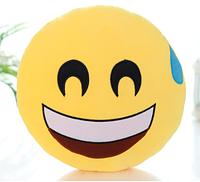 Декоративные подушки Смайл Улыбочка с капелькой Emoji 30 см. Подушка смайлик, фото 1