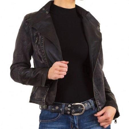 52fa23eac Байкерская джинсовая куртка-косуха с экокожей Vivo Modo (Италия) Черный -  Интернет-