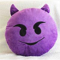 Декоративные подушки Смайл Улыбка Emoji 33 см. Подушка смайлик дьявол, фото 1