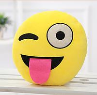Декоративные подушки Смайл с языком Emoji 30 см. Подушка смайлик, фото 1