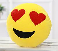 Декоративные подушки Смайл Улыбка Emoji 30 см. Подушка смайлик с сердечками, фото 1