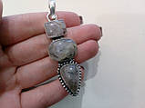 Кварц волосиста кулон з натуральним турмаліновим кварцом в сріблі, фото 2