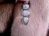 Кварц волосиста кулон з натуральним турмаліновим кварцом в сріблі, фото 3