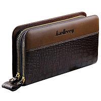 Мужской клатч портмоне BAELLERRY Business Style Мужской портмоне на 2 молнии Crocodile Коричневый(SUN0245)