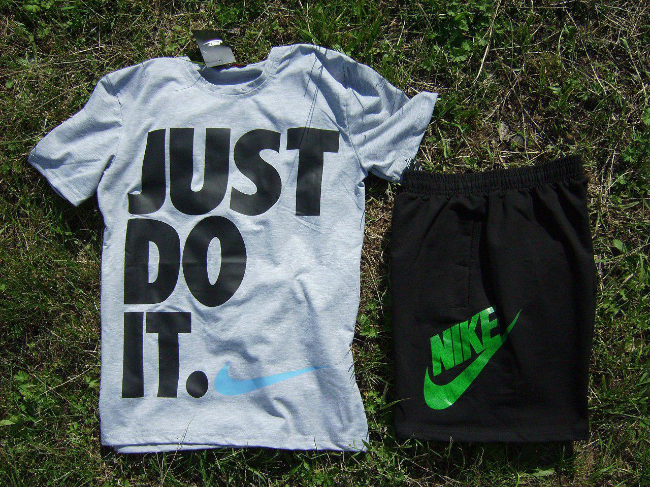 Мужской комплект футболка + шорты Nike серого и черного цвета (люкс копия)