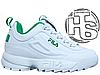Женские кроссовки реплика Fila Disruptor II 2 Leather White/Green