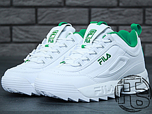 Женские кроссовки реплика Fila Disruptor II 2 Leather White/Green, фото 2