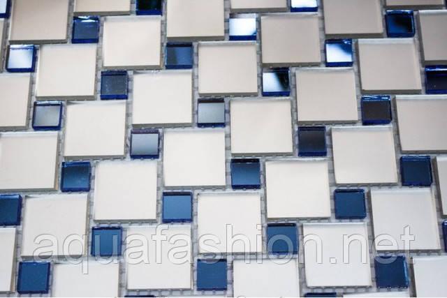 Зеркальная мозаика с синими вставками MIX-1