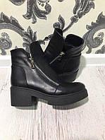 Ботинки кожаные, черный
