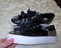 Модные черные кеды с вышивкой, фото 1