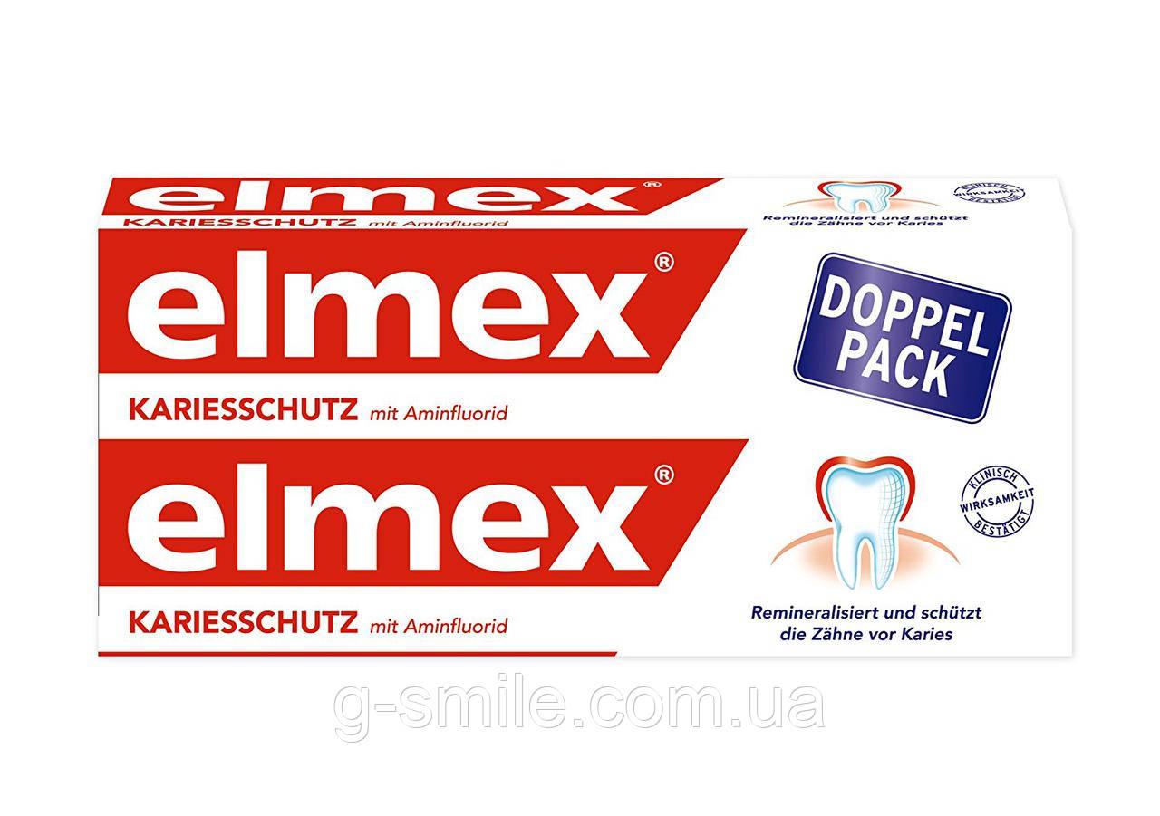 Зубна паста проти карієсу з аминфлоридом Elmex Kariesschutz mit Aminflourid DOPPEL-PACK, 2х75 мл