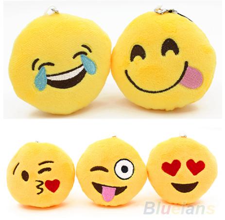 Брелок мягкий Смайл Улыбочка Emoji 8 см. Подушка смайлик