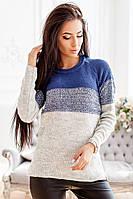 Вязаный трехцветный свитер из хлопка с акрилом 1404326