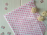 Сатин белый в розовый горошек   40*50 см