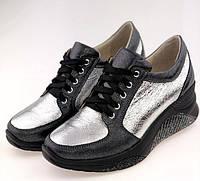 Женские кроссовки черная кожа + серебро, фото 1