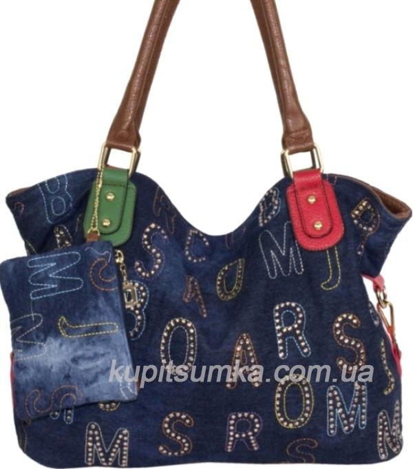 ea395415e4c0 Женская сумка синего цвета из джинсовой ткани и кожзаменителя с цветной  вышивкой и стразами - Интернет