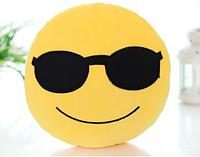 Декоративная подушка  Смайл Emoji 33 см. В очках Подушка смайлик, фото 1